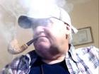 Smoking, My Great, White, Meerschaum, Curved, Pipe Tobaccos, with Scotland Hat; Scotland Shirt